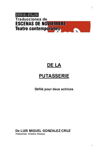 De Putas - De la putasserie // 13 Janvier 2016 // Lecture en français